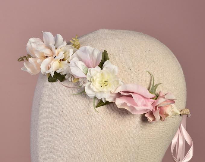 Medium Blush Pink Bridal Flower Crown Garland