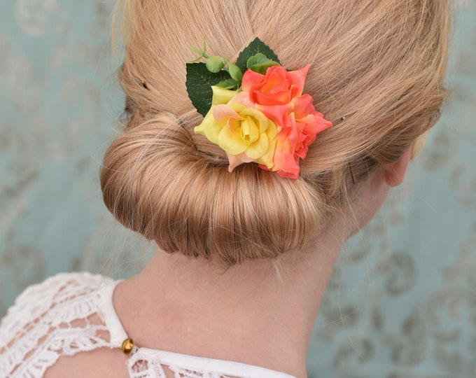 Tropical Orange and Yellow Rose Hair Clip