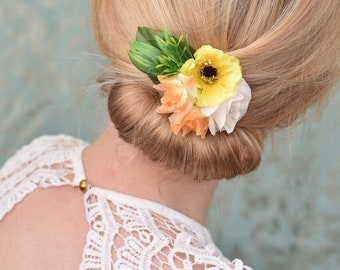 Flower Hair Clip in Yellow and Ivory