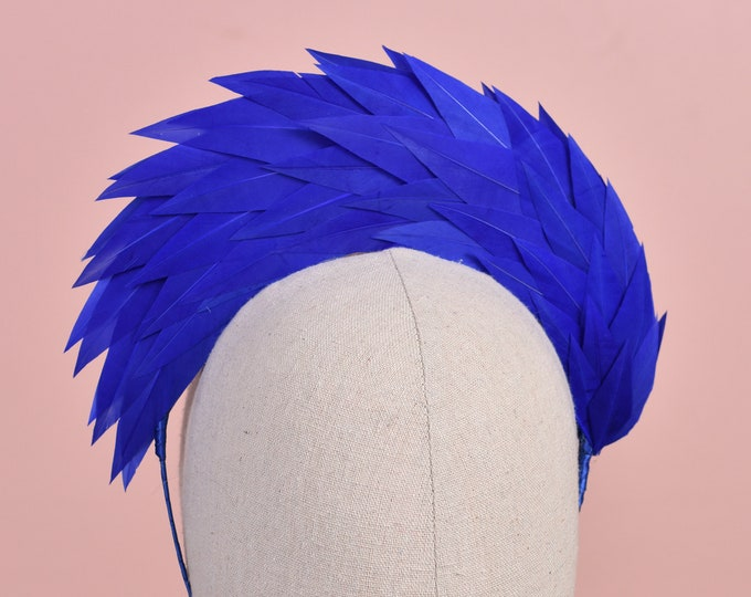 Royal Blue Halo Feather Headpiece