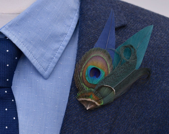 Small Navy Blue and Green Peacock Feather Lapel Pin / Hat Pin No.54