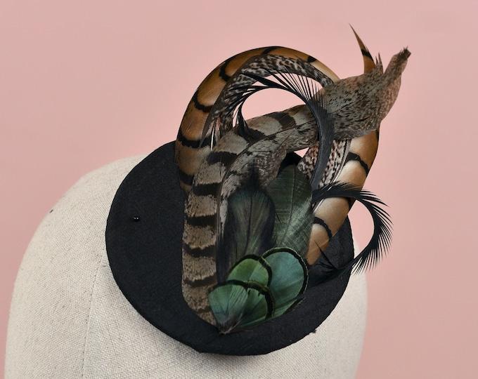 Black Pheasant Feather Fascinator