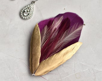 Feather Hair Clip in Plum, Gold and Blush
