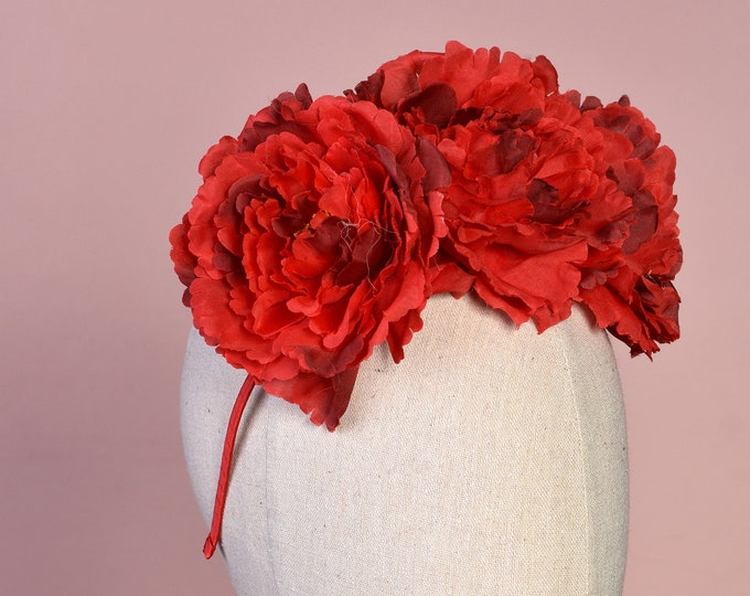 Red Peony Flower Crown Headband