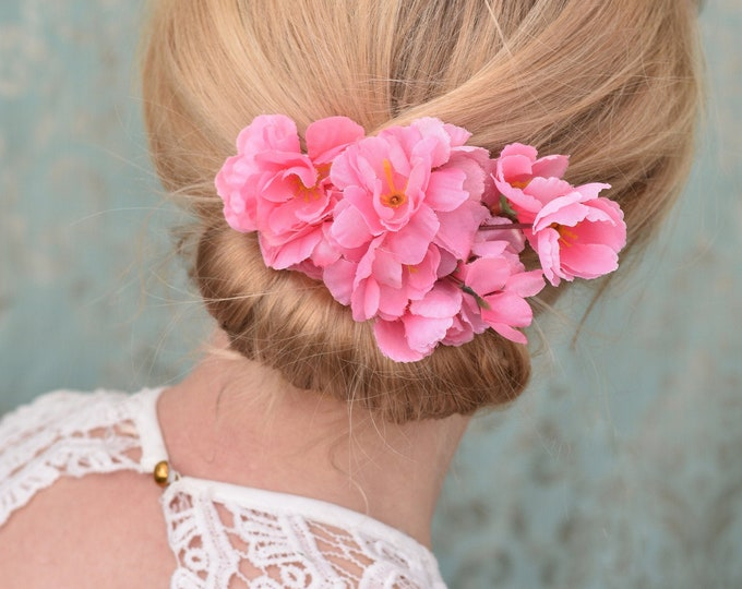 Pink Cherry Blossom Hair Clip