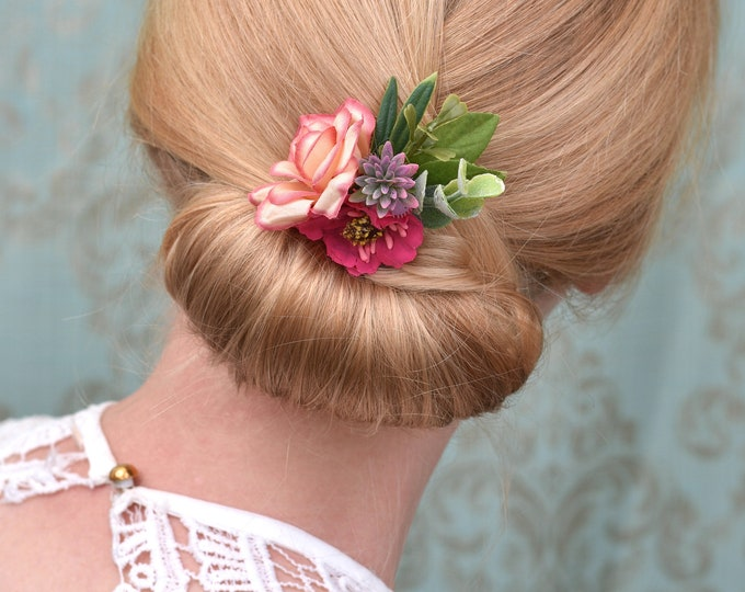Rose and Anemone Flower Hair Clip in Shades of Pink