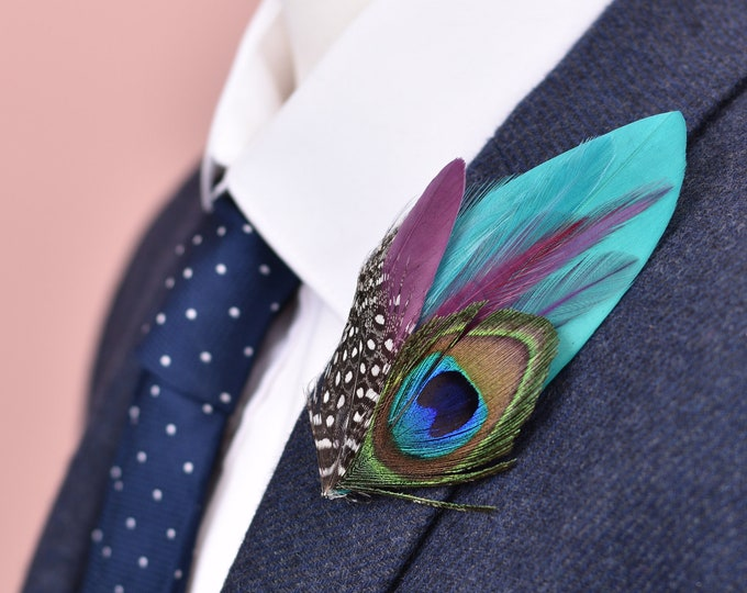 Teal and Plum Peacock Feather Lapel Pin / Hat Pin No.100