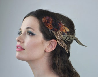 Feather Hair Clip in Copper Pheasant Feathers