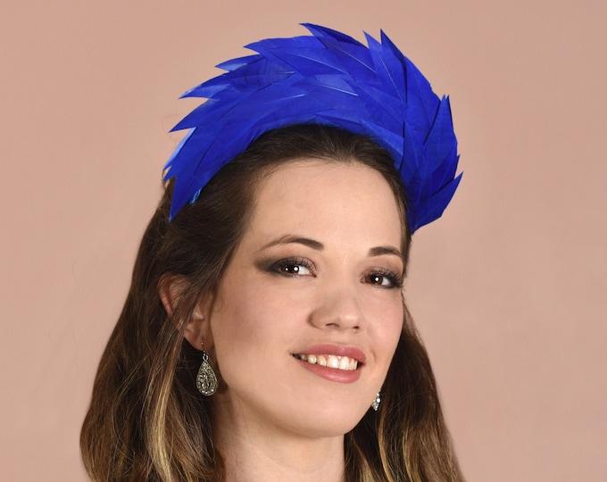 Royal Blue Halo Feather Headpiece