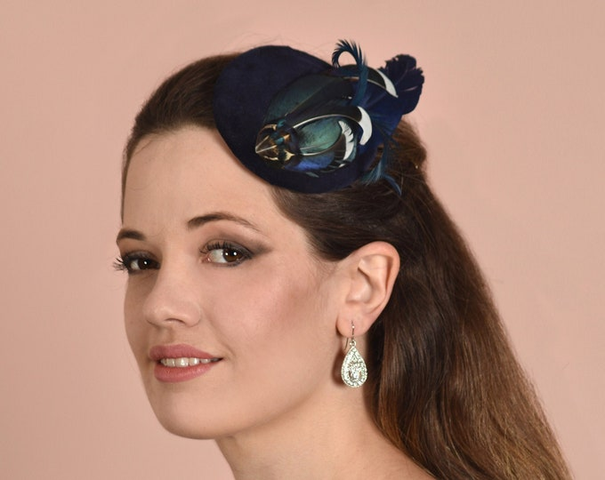 Navy Blue Duck Feather Fascinator