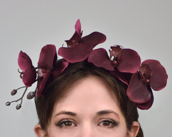 Burgundy Orchid Headpiece