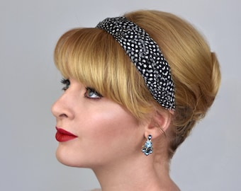 Feather Headband in Polka Dot Guinea Fowl Feathers