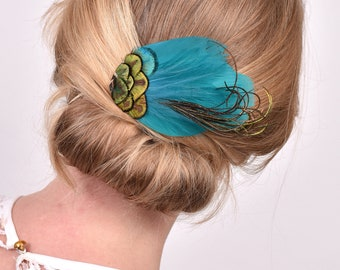 Teal and Gold Peacock Feather Hair Clip