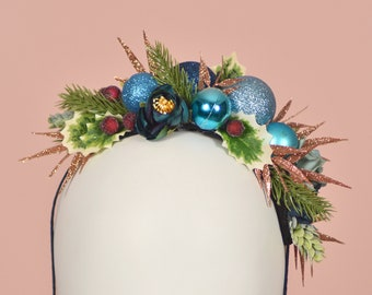 Festive Bauble Christmas Headband in Blue and Copper No.2
