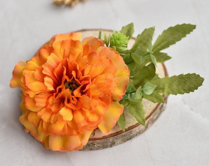Orange Marigold Flower Hair Clip