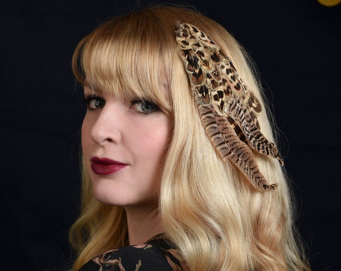 Feather Fascinator in Hen Pheasant Feathers