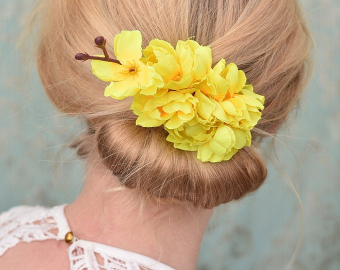 Set of 4 Yellow Cherry Blossom Hair Clip