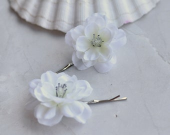 White Cherry Blossom Bobby Pin Hair Slides
