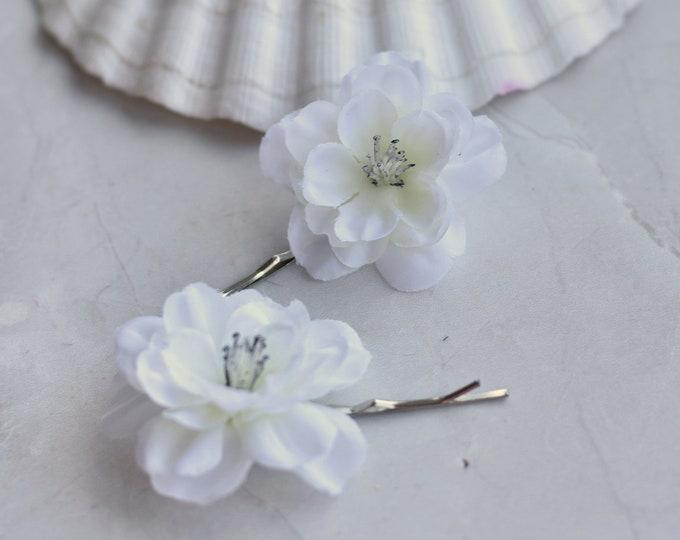 White Cherry Blossom Bobby Pin Hair Slides