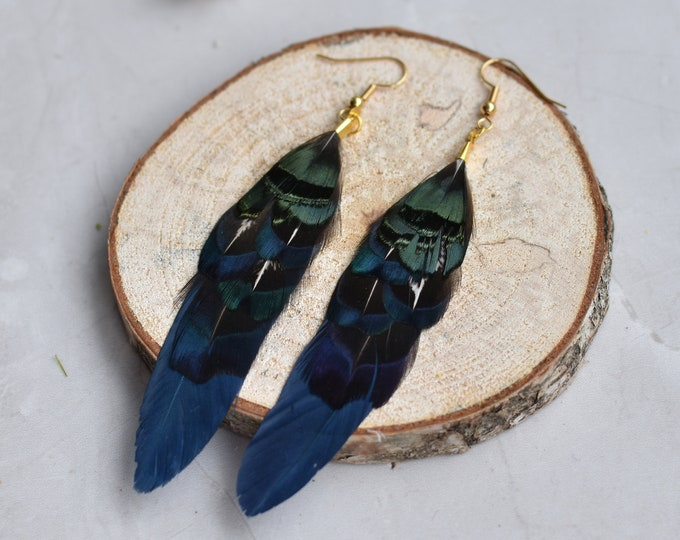Navy Blue and Green Pheasant Feather Earrings