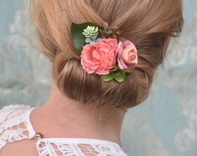 Pink and Green Peony, Rose and Anemone Flower Hair Clip