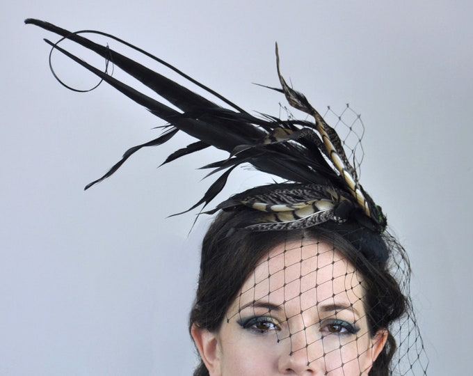 Black Feather Teardrop Hat with Black Net Veil