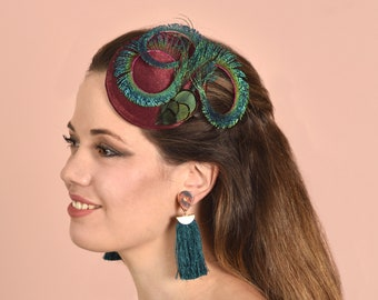 Feather Fascinator in Magenta Silk and Teal Peacock Feathers