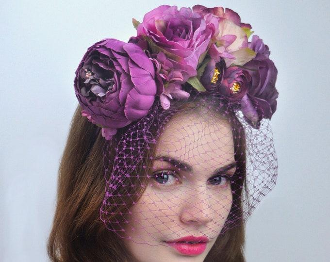 Iris - Bridal Flower Crown Headpiece in Purple with Net Birdcage Veil