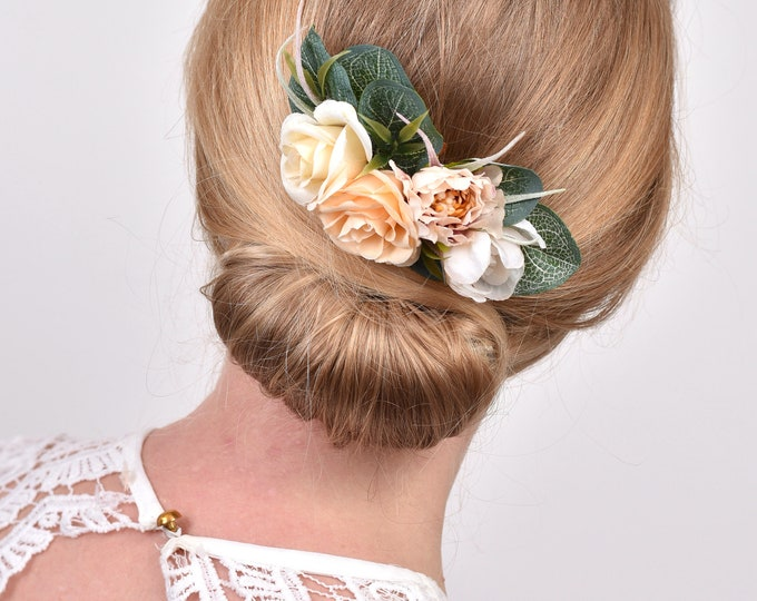 Ivory and Peach Rose and Eucalyptus Bridal Hair Comb