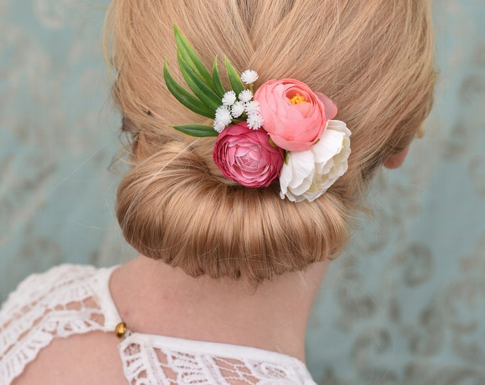Ranunculus Flower Hair Clip in Pink, Coral and Ivory