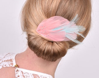 Feather Hair Clip in Vintage Pink and Mint Green with Crystal Detail