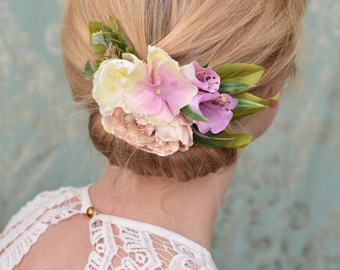Peony, Ranunculus and Fox Glove Flower Hair Clip in Pink and Ivory