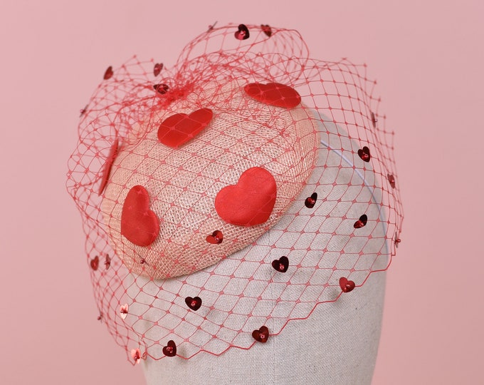 The Love Heart Veiled Fascinator - MADE TO ORDER