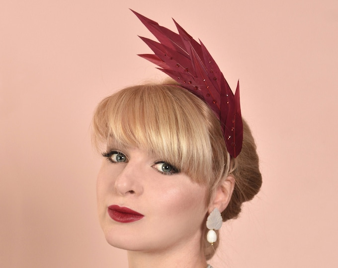 Crimson burgundy Flame Feather Headpiece with Swarovski Crystals