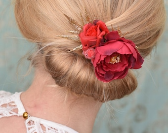 Peony Silk Flower Hair Clip in Red and Gold