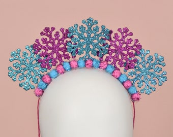 Festive Christmas Snowflake Headband in Glitter Pink and Blue