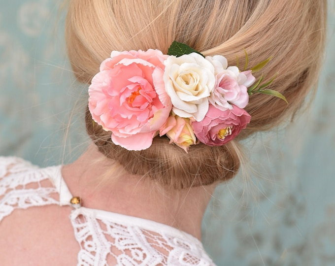 Pink and Ivory Vintage Style Peony Flower Hair Clip