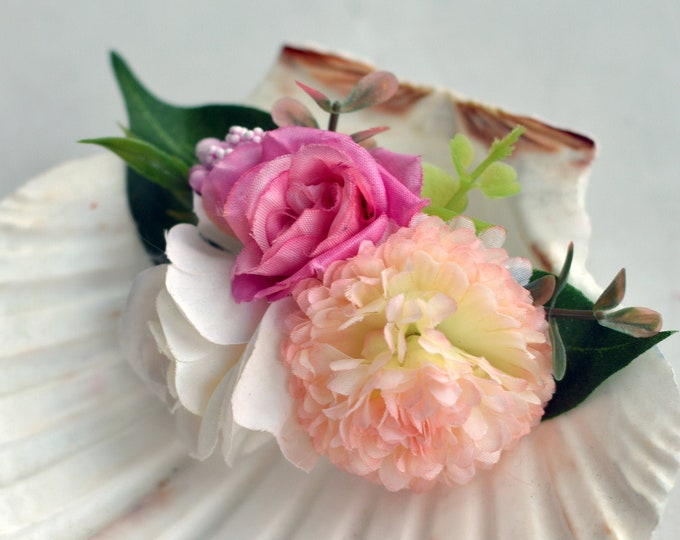 Silk Flower Hair Clip in Pink, Peach and Ivory