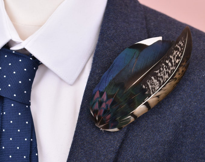 Duck and Pheasant  Feather Lapel Pin in Iridescent Blue No.12