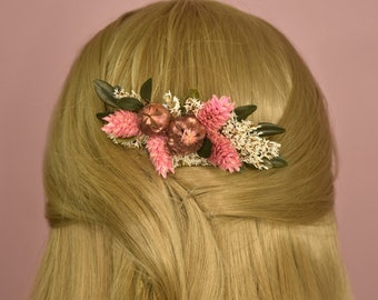 Pink and Rose Gold Dried Flower Hair Comb