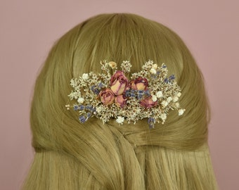 Romantic Dried Flower Hair Comb with Pink Rose Buds and Lavender
