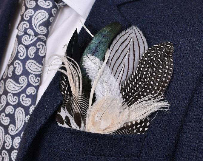 Monochrome Feather Pocket Square No.21
