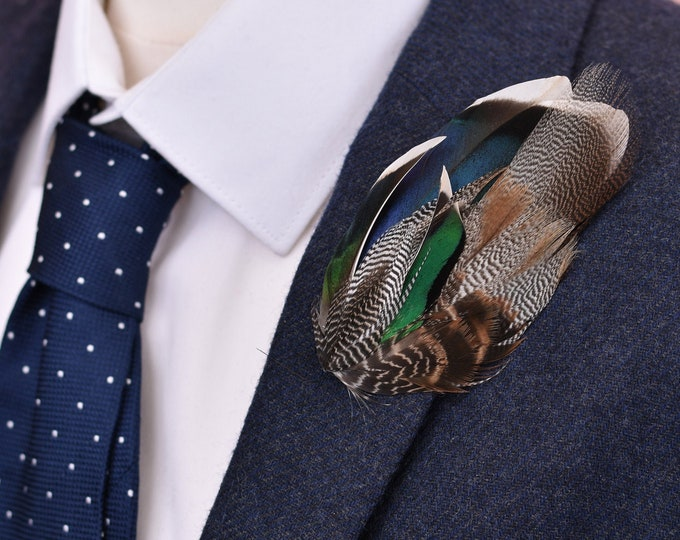 Navy Blue and Green Duck Feather Lapel Pin Brooch No.11
