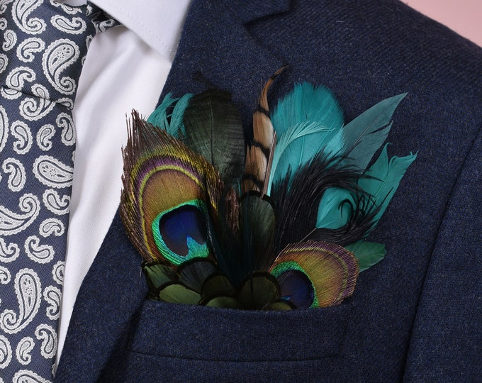 Teal, Green and Peacock Feather Pocket Square No.22