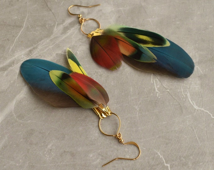 Tropical Feather Earrings No.19