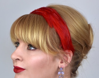 Feather Headband in Poppy Red