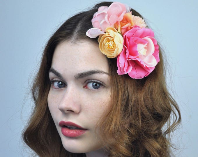 Flower Hair Clip Fascinator in Pink and Peach