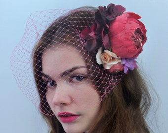 Pink and Purple Flower Hair Clip | Bridal Headpiece | Floral Headpiece | Bridal Hair Clip | Flower Headpiece | Peony Hair Clip | Pink Flower