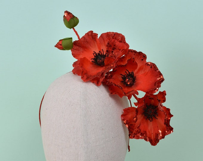 Sculptural Floating Red Poppies Headpiece