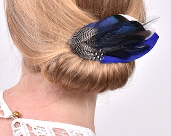 Navy Blue and Duck Feather Hair Clip